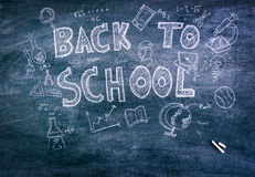 Freehand drawing Back to school on chalkboard ( Filtered image p. Rocessed vintage effect Stock Photography