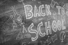 Freehand drawing Back to school on chalkboard ,Filtered image pr Stock Images