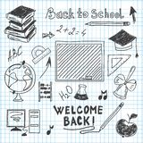 Freehand drawing back to school in a notebook Royalty Free Stock Photo