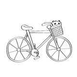 Freehand drawing bike illustration on white. Stock Photography