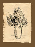 Freehand drawing bouquet on old paper Stock Photo