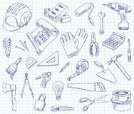 Freehand drawing building materials. On a sheet of exercise book. Vector illustration. Set Royalty Free Stock Photo