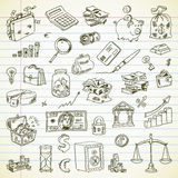 Freehand drawing Business and Finance items. On a sheet of exercise book. Vector illustration. Set Royalty Free Stock Photos