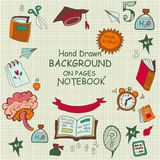 Freehand drawing cartoon school icons Royalty Free Stock Image