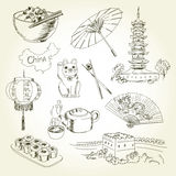 Freehand drawing China items Stock Images