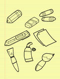 Freehand drawing drawing tools set. Freehand drawing drawing tools set on yellow pad vector illustration