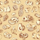 Freehand drawing fruit. Seamless pattern Royalty Free Stock Image