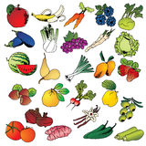 Freehand drawing fruits and vegetables icon set Stock Photography