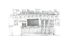 Freehand drawing of furniture for living room Royalty Free Stock Images