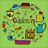 Freehand drawing on gardening theme Stock Images
