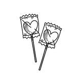Freehand drawing heart candy illustration Stock Photography