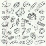 Freehand drawing high-calorie food. On a sheet of exercise book. Vector illustration. Set Royalty Free Stock Image