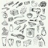 Freehand drawing hygiene and cleaning products Royalty Free Stock Photography