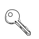 Freehand drawing illustration key. Royalty Free Stock Image
