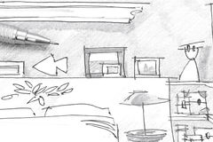 Freehand drawing interior of bedroom furniture with pencil Royalty Free Stock Photos