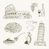 Freehand drawing Italy items Royalty Free Stock Images