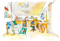 Freehand drawing of a kids room Royalty Free Stock Photography