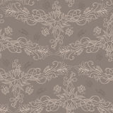 Freehand drawing of lilies. Seamless pattern Royalty Free Stock Photo