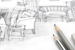 Freehand drawing of living room with pencils on paper Royalty Free Stock Photos