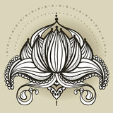 Freehand drawing of lotus in east style. Can be used for backgrounds, business style, tattoo templates, cards design or else. Vector illustration royalty free stock photo