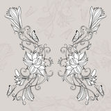 Freehand drawing of lotus in east style. Freehand drawing of lilies and butterflies. Can be used for backgrounds, business style, tattoo templates, cards design royalty free stock photography