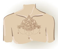 Freehand drawing of lotus tattoo on chest. Can be used for backgrounds, business style, tattoo templates, cards design or else. Vector illustration stock images