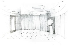 Freehand drawing of modern hall design concept Royalty Free Stock Photos