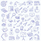 Freehand drawing office on a sheet of exercise book Royalty Free Stock Images