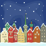 Freehand drawing of old colourful buildings in winter Amsterdam Stock Images