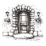 Freehand drawing of old front door Stock Images