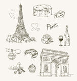 Freehand drawing Paris items Stock Photos