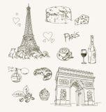 Freehand drawing Paris items Stock Photos