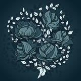 Freehand drawing of peony flowers in blue colors vector illustration