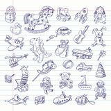 Freehand drawing retro toys items Royalty Free Stock Images