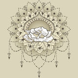 Freehand drawing of rose in east style. Can be used for backgrounds, business style, tattoo templates, cards design or else. Vector illustration vector illustration