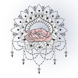 Freehand drawing of rose in east style Royalty Free Stock Photos