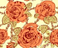 Freehand drawing roses Royalty Free Stock Image