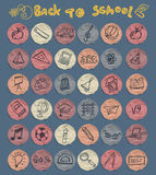 Freehand drawing school icons set Stock Photo