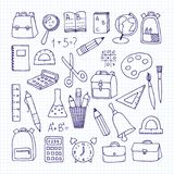 A set of school subjects on a notebook sheet. Back to school. Vector illustration Stock Photography