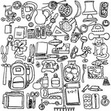 Freehand drawing school items on a white background.  Vector Set Royalty Free Stock Photography