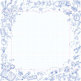 Freehand drawing school stationery items on sheet of exercise book Stock Photography