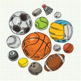 Freehand drawing sport balls Royalty Free Stock Photos