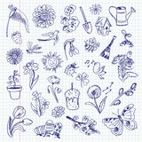 Freehand drawing spring items. Set Royalty Free Stock Photo
