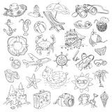 Freehand drawing summer vacation. On a sheet of exercise book. Vector illustration. Set Stock Photos
