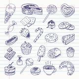 Freehand drawing sweetness items Royalty Free Stock Images