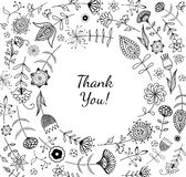 Freehand drawing thank you response card. Stock Images