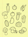 Freehand drawing vegetables. Freehand drawing vegetables on yellow paper stock illustration