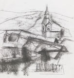 Freehand drawing of village. Hand drawn charcoal illustration of rural landscape and church Stock Photo