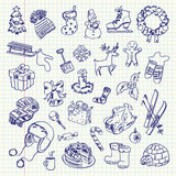 Freehand drawing Winter holiday items Stock Image