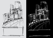 Freehand drawings of city Stock Photo